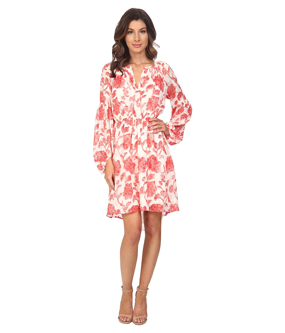 Adrianna Papell Floral Jacquard Loose Fit Dress Red/Ivory Womens Dress