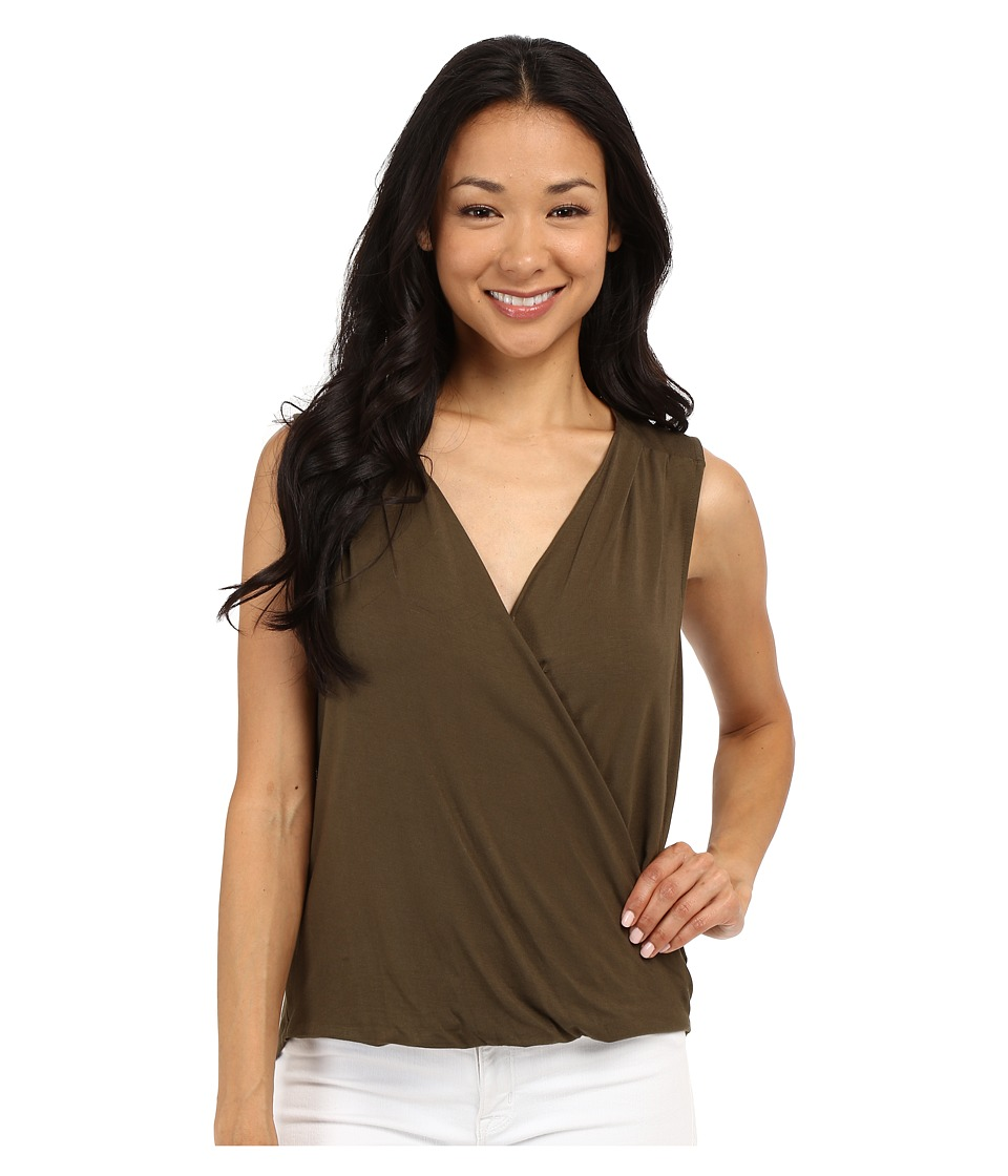 Adrianna Papell Solid Wrap Top Olive Womens Sleeveless