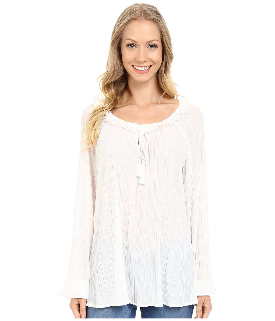 Adrianna Papell Long Sleeve Peasant Top Ivory Womens Blouse