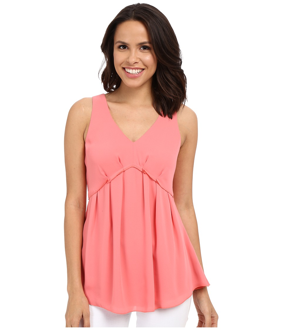 Adrianna Papell Pleate Sleeveless Blouse Light Coral Womens Blouse