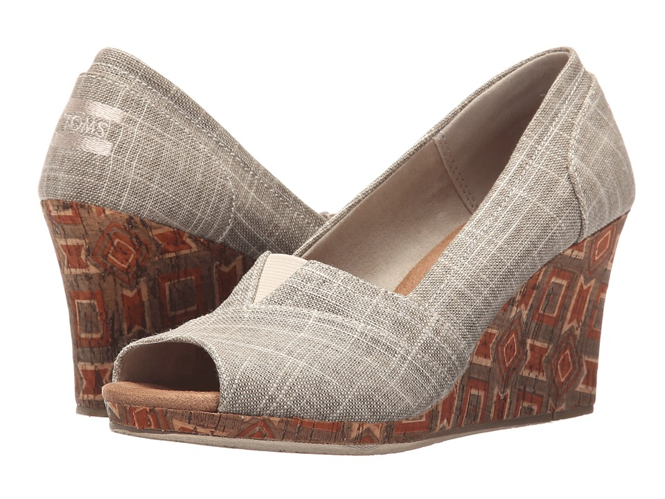 TOMS Classic Wedge Metallic Linen with Printed Cork Wedge Womens Wedge Shoes