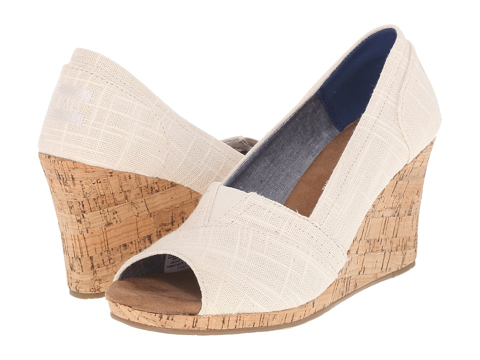 TOMS Classic Wedge Natural Linen with Cork Wedge Womens Wedge Shoes