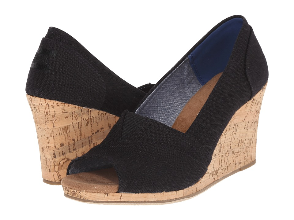 TOMS Classic Wedge Black Linen with Cork Wedge Womens Wedge Shoes