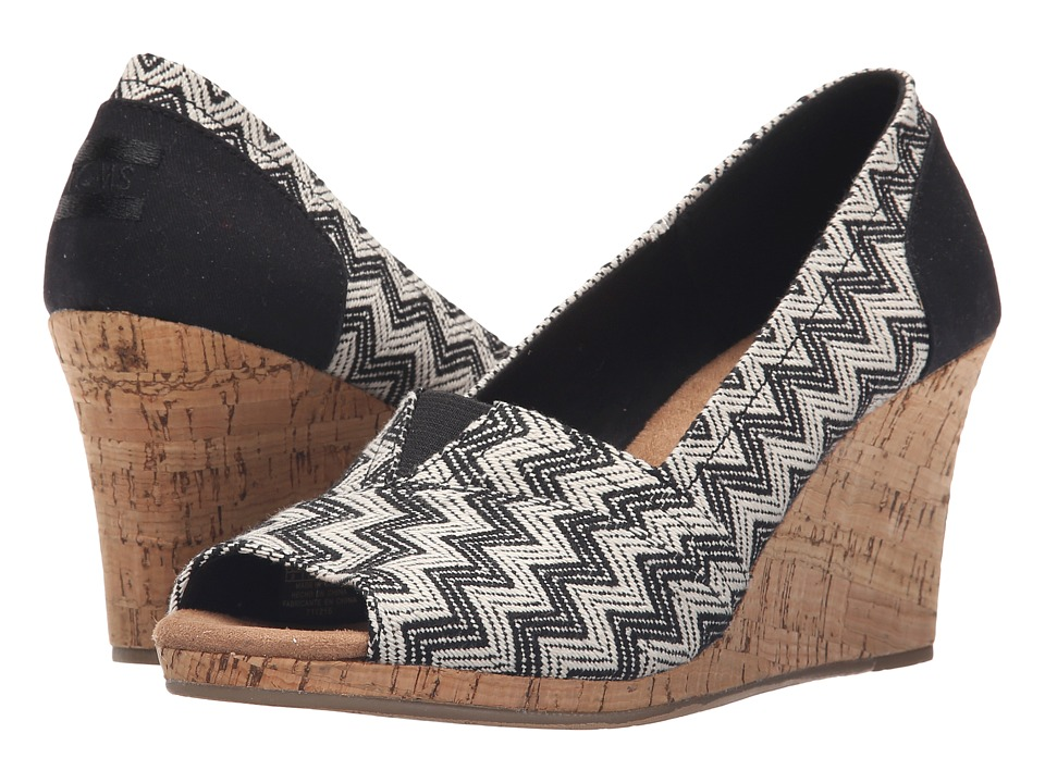 TOMS Classic Wedge Black Chevron Woven with Cork Wedge Womens Wedge Shoes