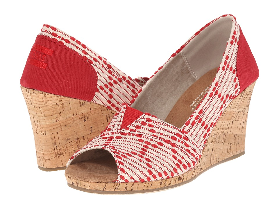 TOMS Classic Wedge Scarlet Multi Cross Stitch with Cork Wedge Womens Wedge Shoes