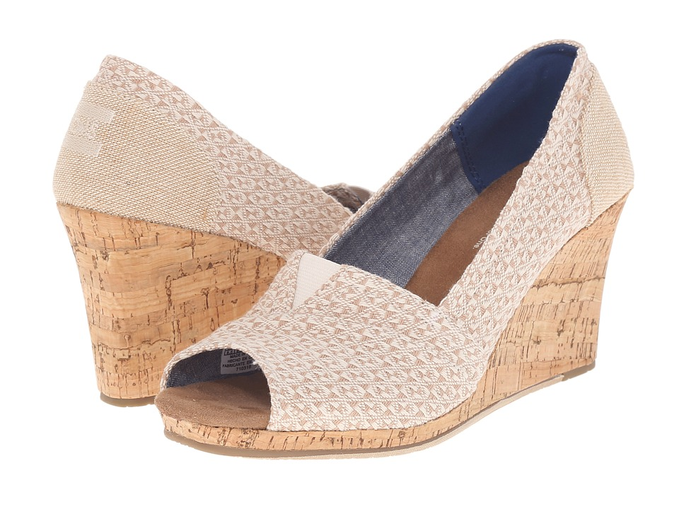 TOMS Classic Wedge Natural Woven Triangle with Cork Wedge Womens Wedge Shoes