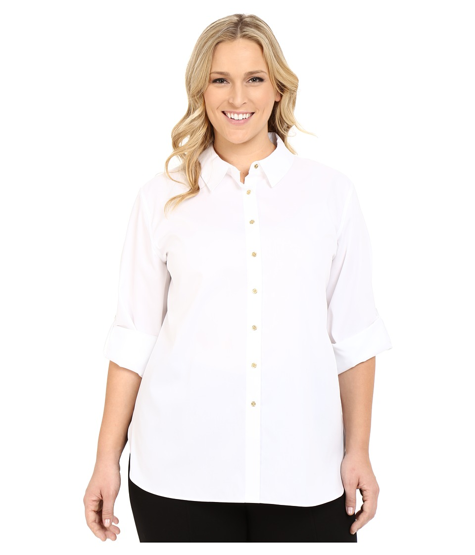 Calvin Klein Plus - Plus Size Non Iron Tunic (Birch) Womens Long Sleeve Button Up