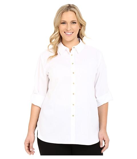 Calvin Klein Plus - Plus Size Non Iron Tunic (Birch) Women's Long Sleeve Button Up