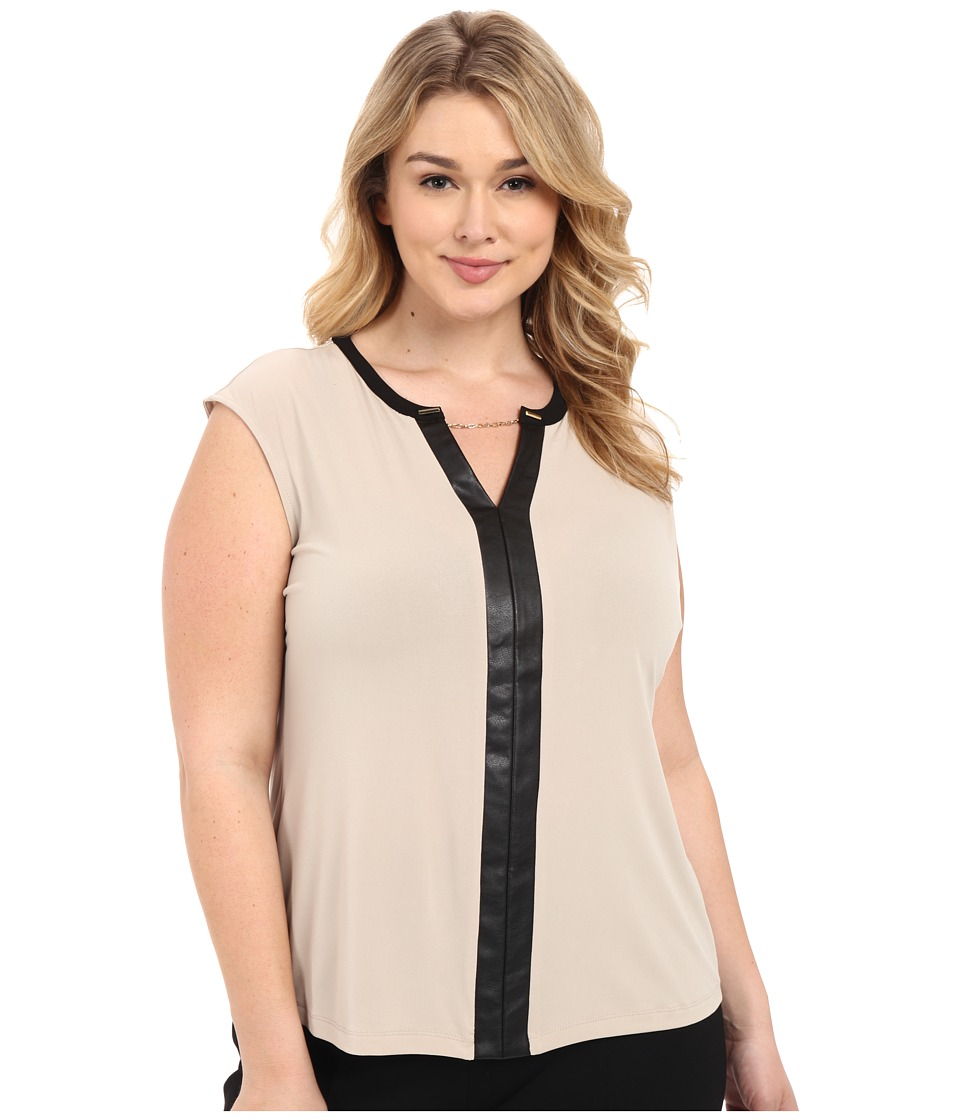 Calvin Klein Plus - Plus Size Sleeveless V-Neck Chain Top (Latte) Womens Sleeveless