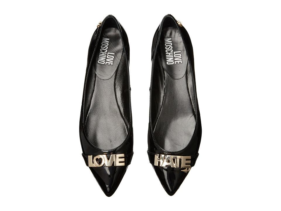 LOVE Moschino Love Hate Ballerina Flat (Black) Women