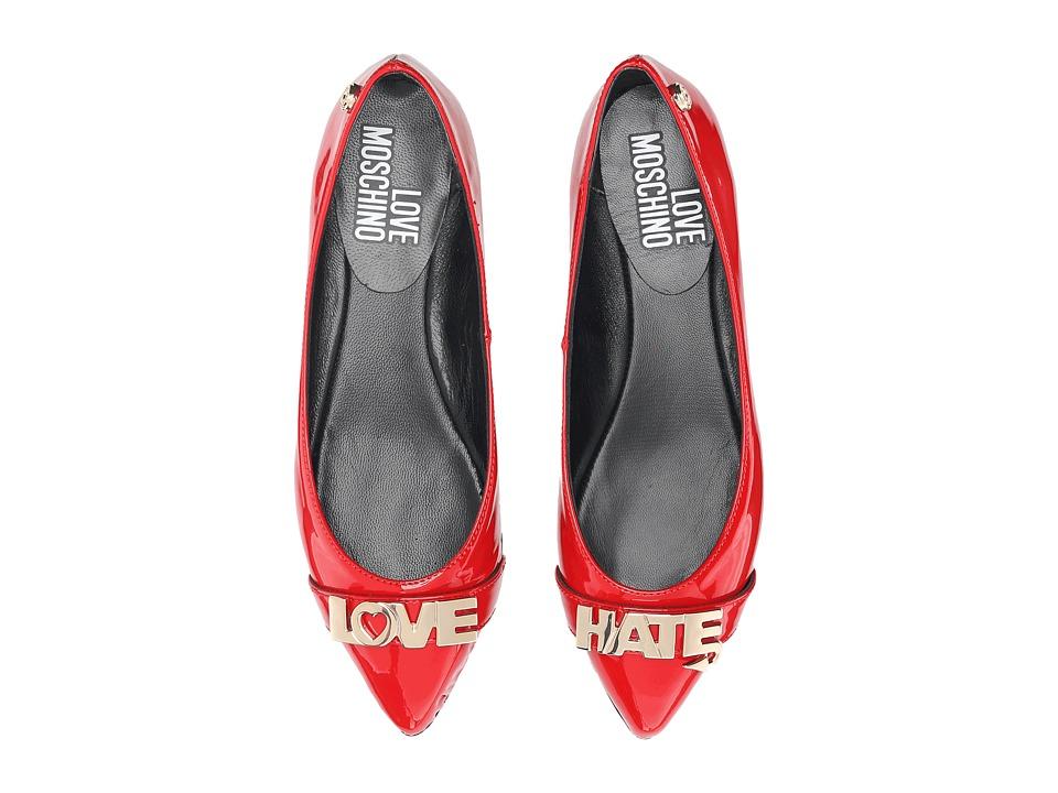 LOVE Moschino Love Hate Ballerina Flat (Red) Women