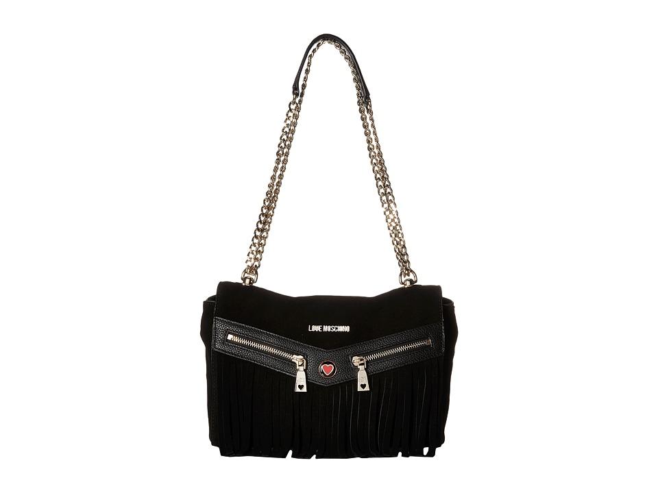 LOVE Moschino - Fringe Crossbody (Black) Cross Body Handbags