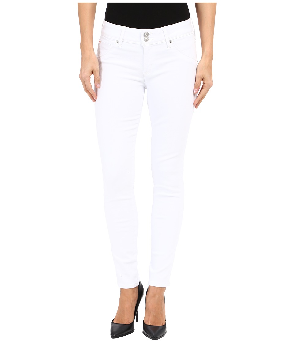 Hudson Collin Mid Rise Ankle Skinny in White White Womens Jeans