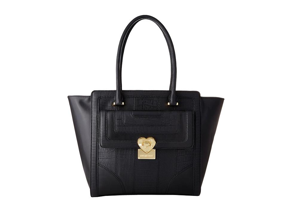 LOVE Moschino - Snake Embossed Tote (Black) Tote Handbags