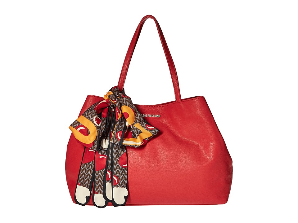 LOVE Moschino - Tote with Monkey Scarf (Red) Tote Handbags