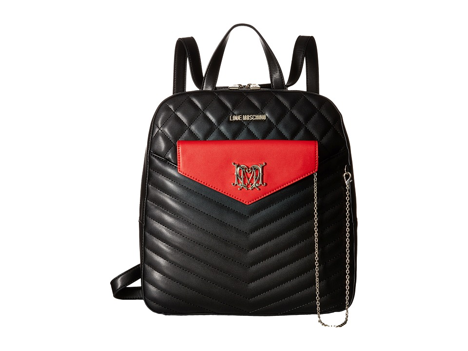 LOVE Moschino - Quilted Backpack with Chain (Black) Backpack Bags
