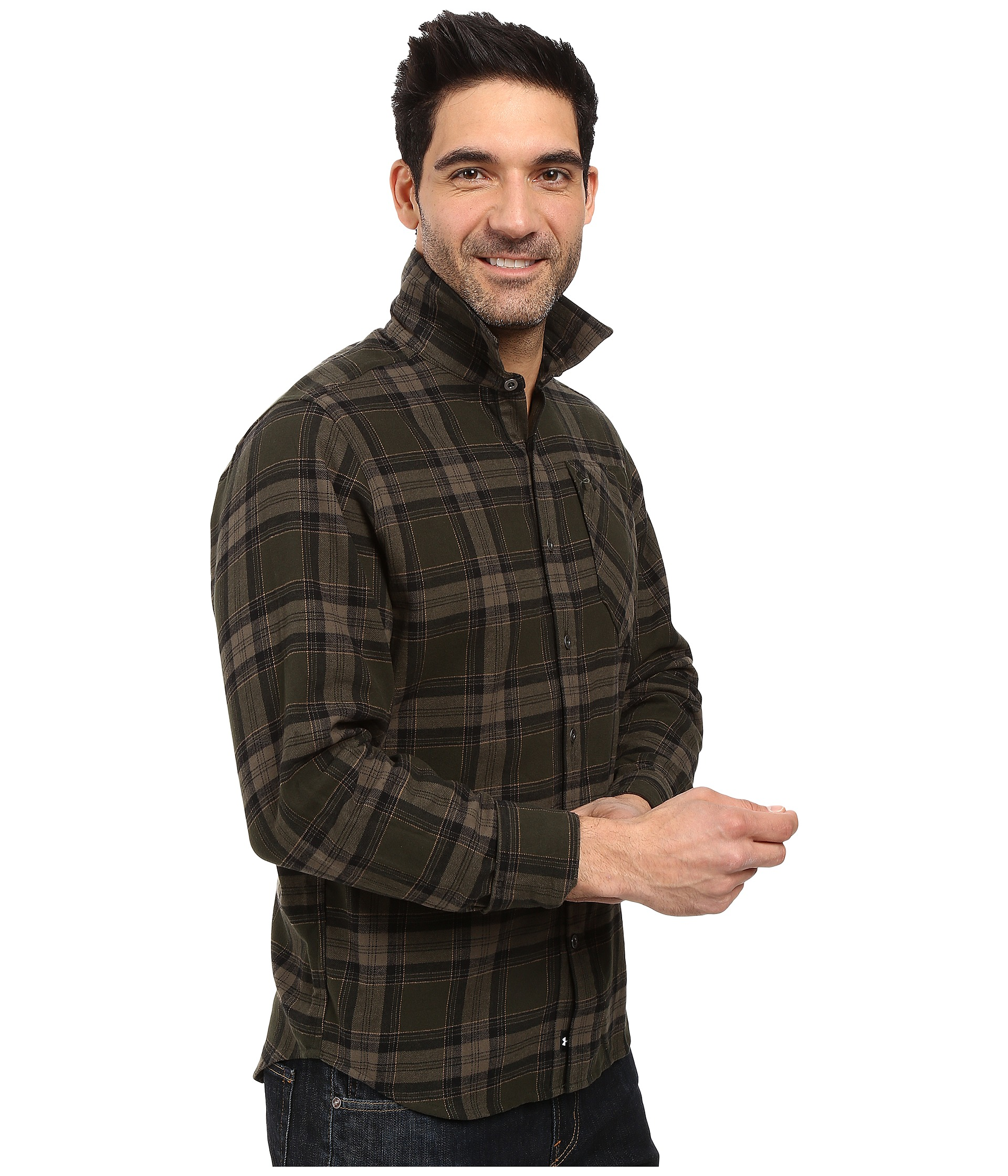 Under armour ua borderland flannel artillery green for Athletic cut flannel shirts