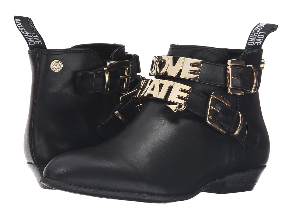 LOVE Moschino Double Strap Ankle Boot (Black) Women