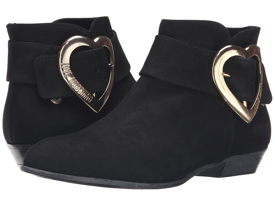 LOVE Moschino - Suede Heart Buckle Ankle Bootie (Black) Women