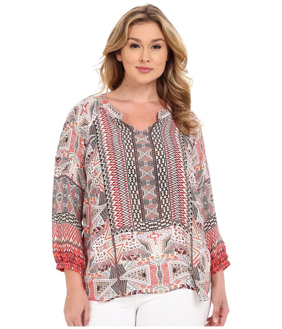 NICZOE Plus Size Prismatic Top Multi Womens Clothing