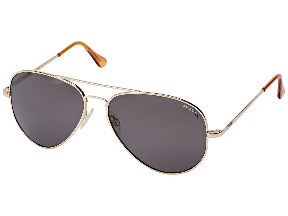 Randolph - Concorde 61mm Polarized (23K Gold/Gray Polarized Glass with Skull Temple) Fashion Sunglasses