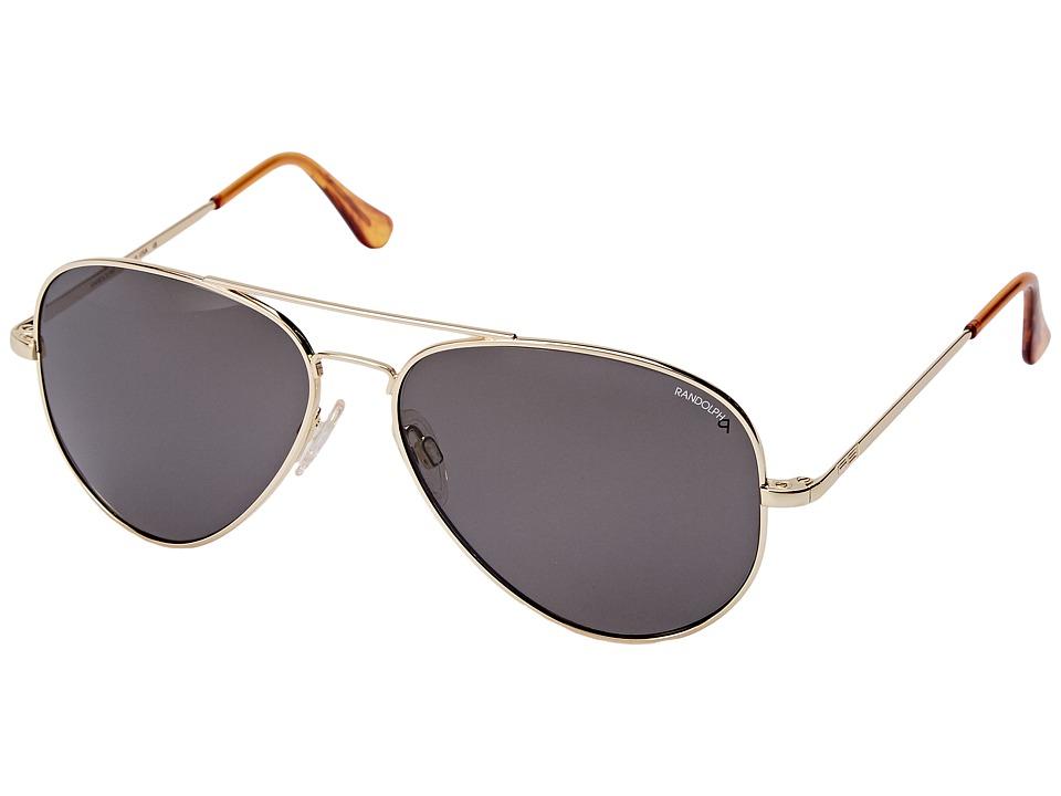 Randolph Concorde 61mm Polarized 23K Gold/Gray Polarized Glass with Skull Temple Fashion Sunglasses