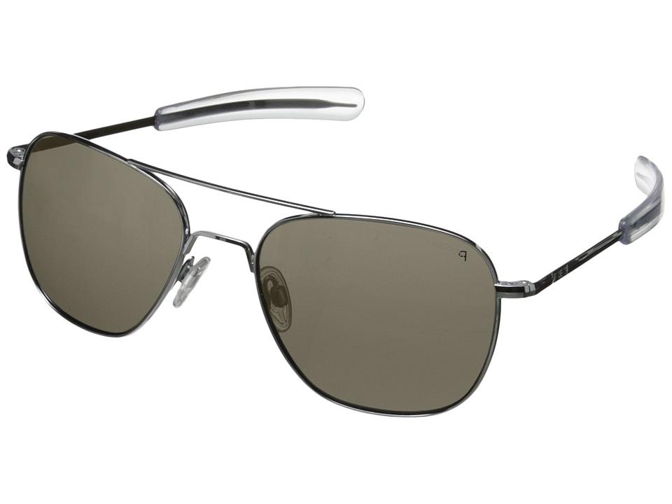 Randolph Aviator 58mm Polarized Bright Chrome/Gray Polarized Glass with Bayonet Temple Fashion Sunglasses