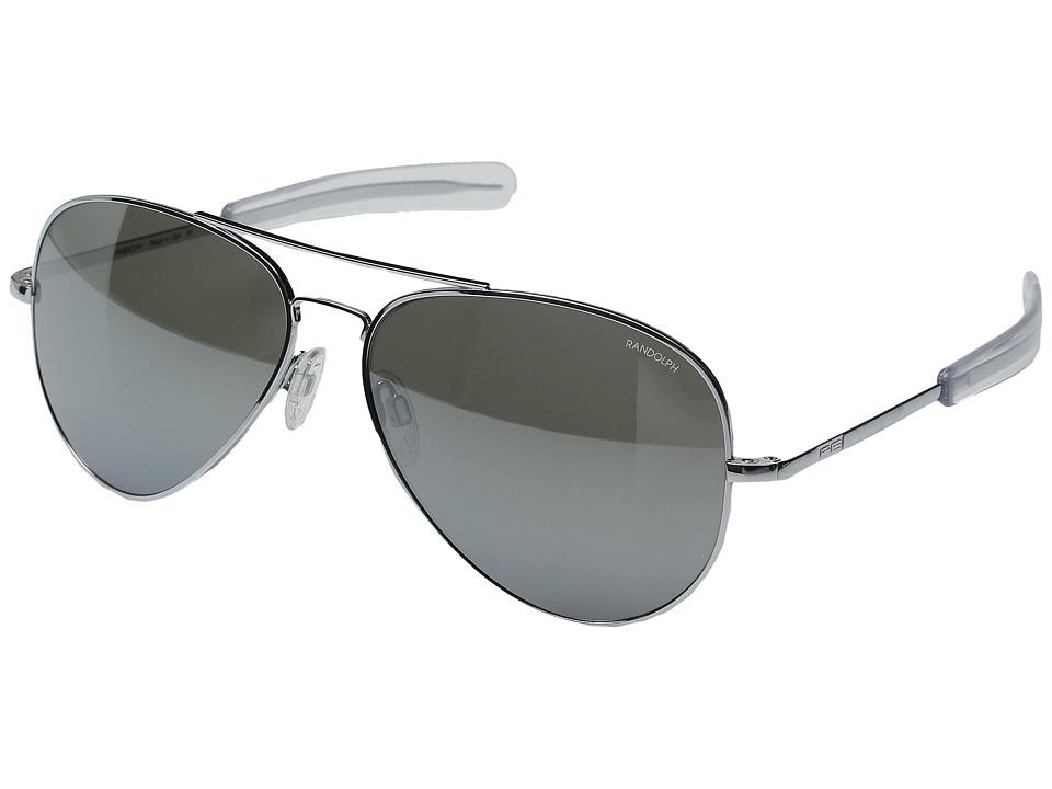 Randolph Concorde 61mm Bright Chrome/Gray Flash Mirror Glass with Skull Temple Fashion Sunglasses