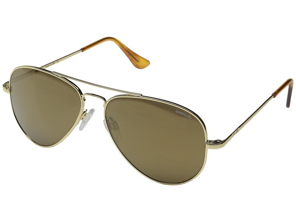 Randolph Concorde 57mm 23K Gold/Bronze Flash PC in Skull Temple Fashion Sunglasses