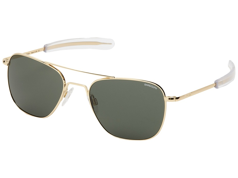 Randolph Aviator 55mm 23K Gold/AGX Glass with Bayonet Temple Fashion Sunglasses