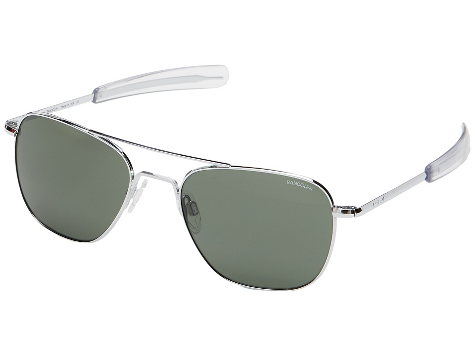 Randolph Aviator 55mm Bright Chrome/AGX Glass with Bayonet Temple Fashion Sunglasses