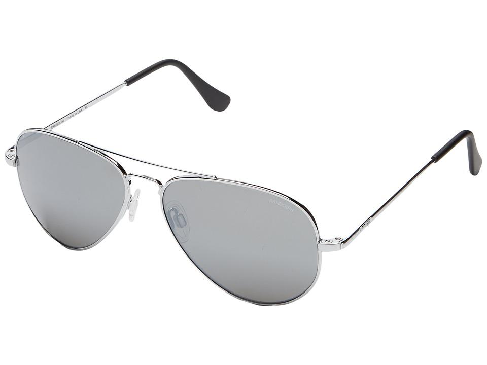 Randolph Concorde 57mm Bright Chrome/Gray Flash Mirror Glass with Skull Temple Fashion Sunglasses