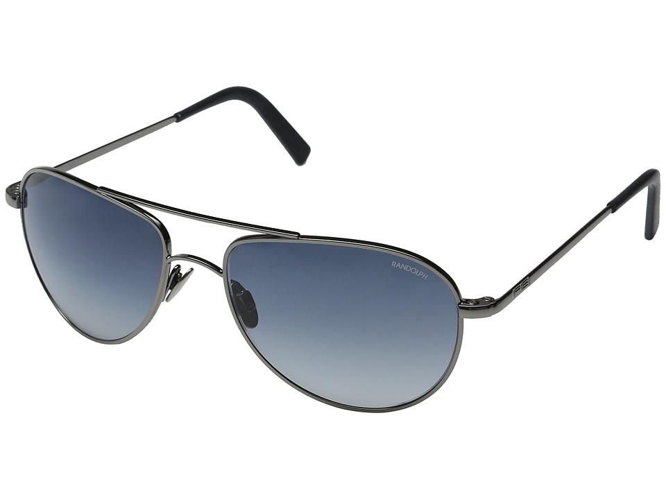 Randolph Hawk 57mm Dark Ruthenium/Blue Gradient Nylon/Skull Temple Fashion Sunglasses
