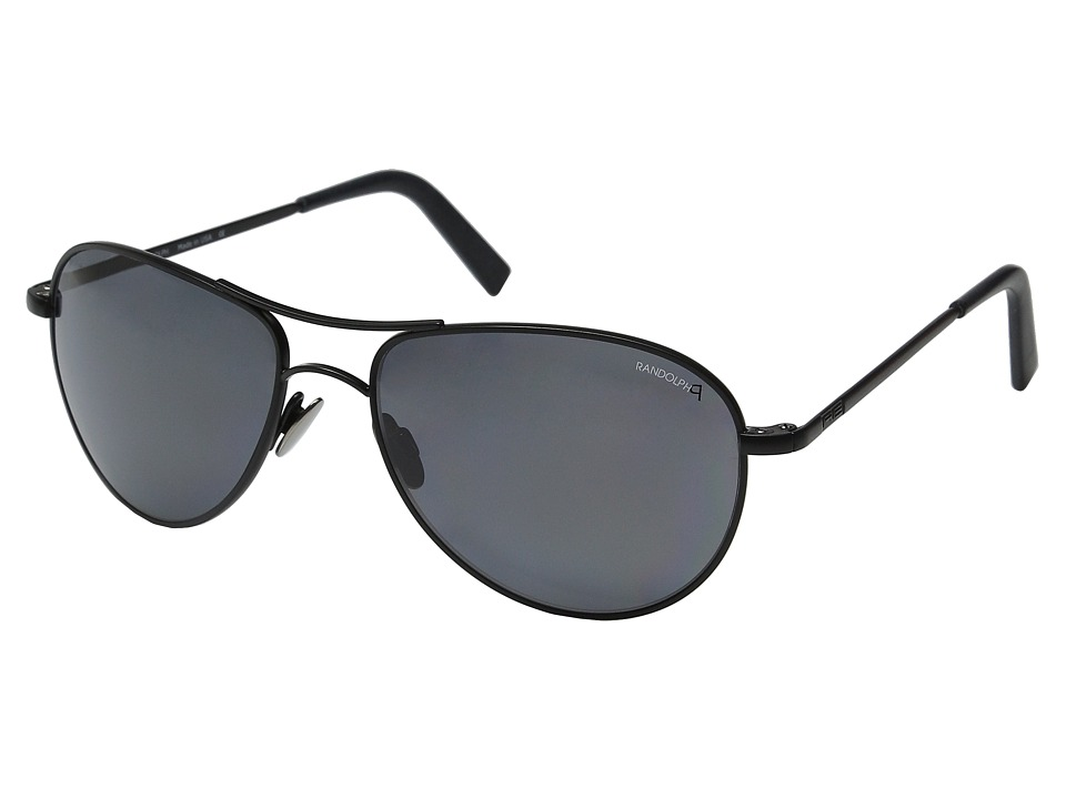 Randolph Hawk 57mm Polarized Matte Black/Gray Polarized PC/Skull Temple Fashion Sunglasses