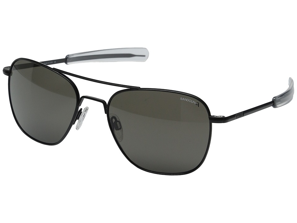 Randolph Aviator 58mm Polarized Matte Black/Gray Polarized Glass with Bayonet Temple Fashion Sunglasses