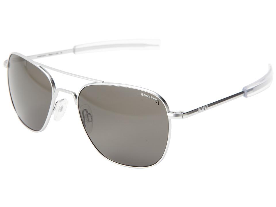 Randolph Aviator 58mm Polarized Matte Chrome/Gray Polarized Glass with Bayonet Temple Fashion Sunglasses