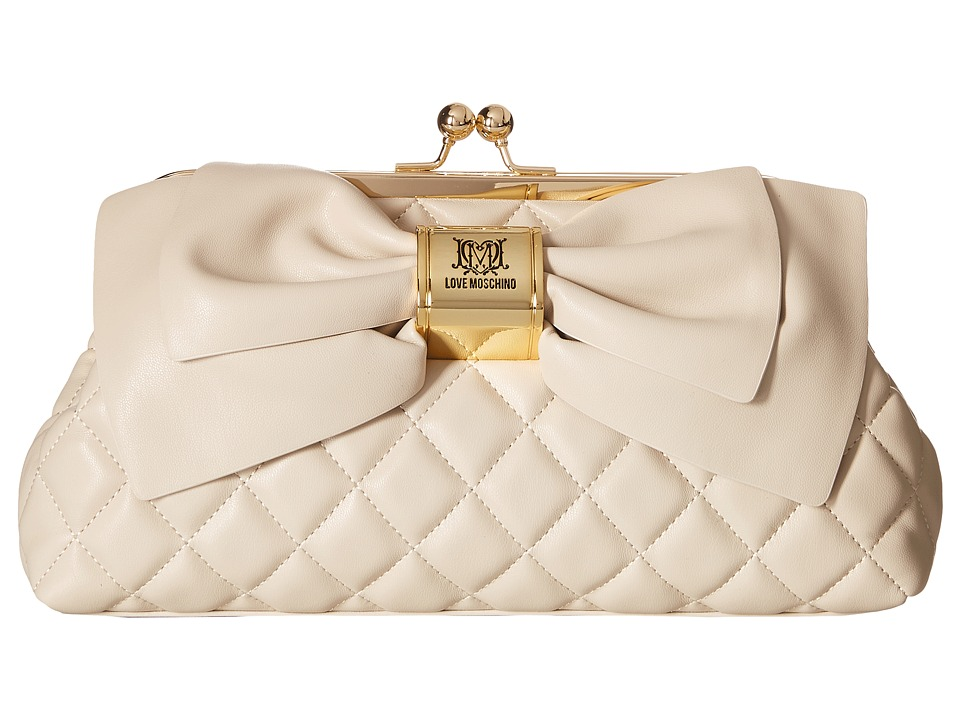LOVE Moschino - Quilted Bow Clutch (White) Clutch Handbags
