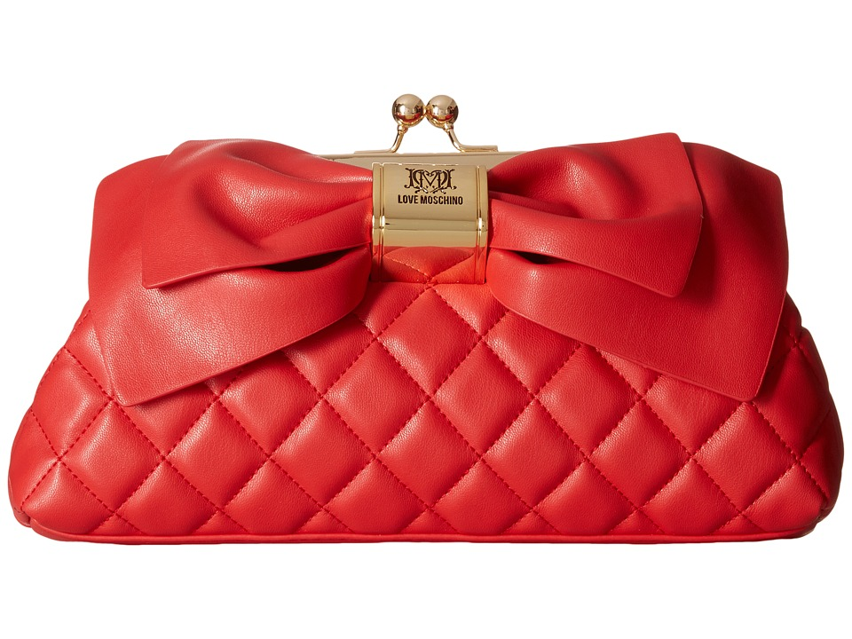 LOVE Moschino - Quilted Bow Clutch (Red) Clutch Handbags