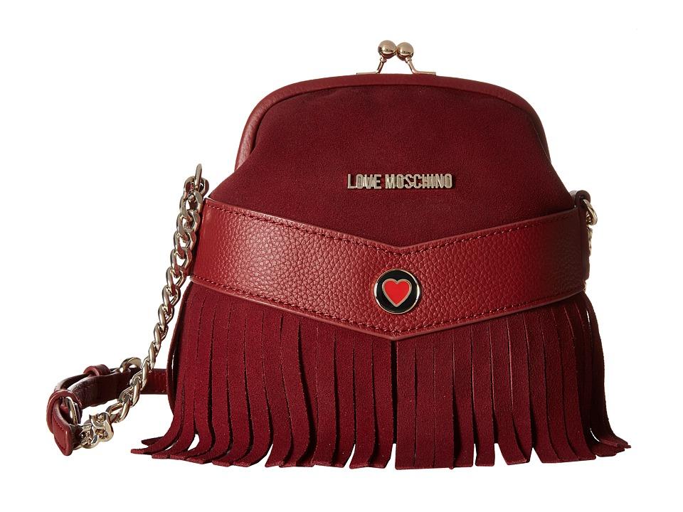 LOVE Moschino - Fringe Clutch Crossbody (Bordeaux) Cross Body Handbags