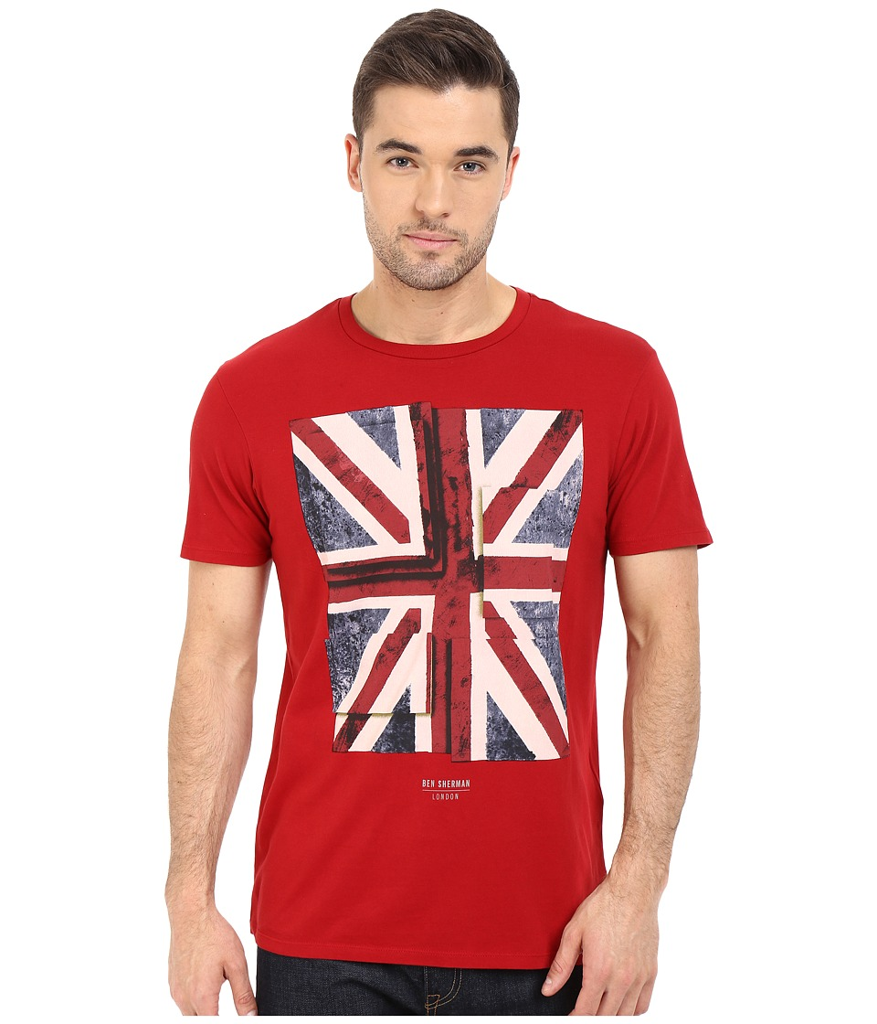 Ben Sherman Short Sleeve Union Jack Tee MB12315 Dawn Red Mens T Shirt