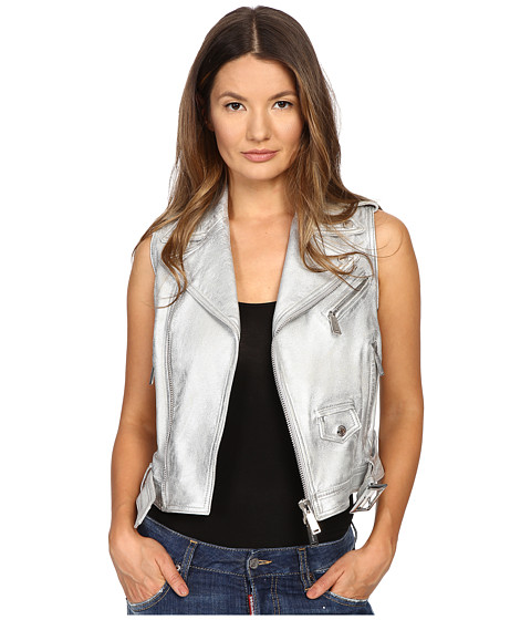 DSQUARED2 Lamb Leather Silver Leather Gilet Top