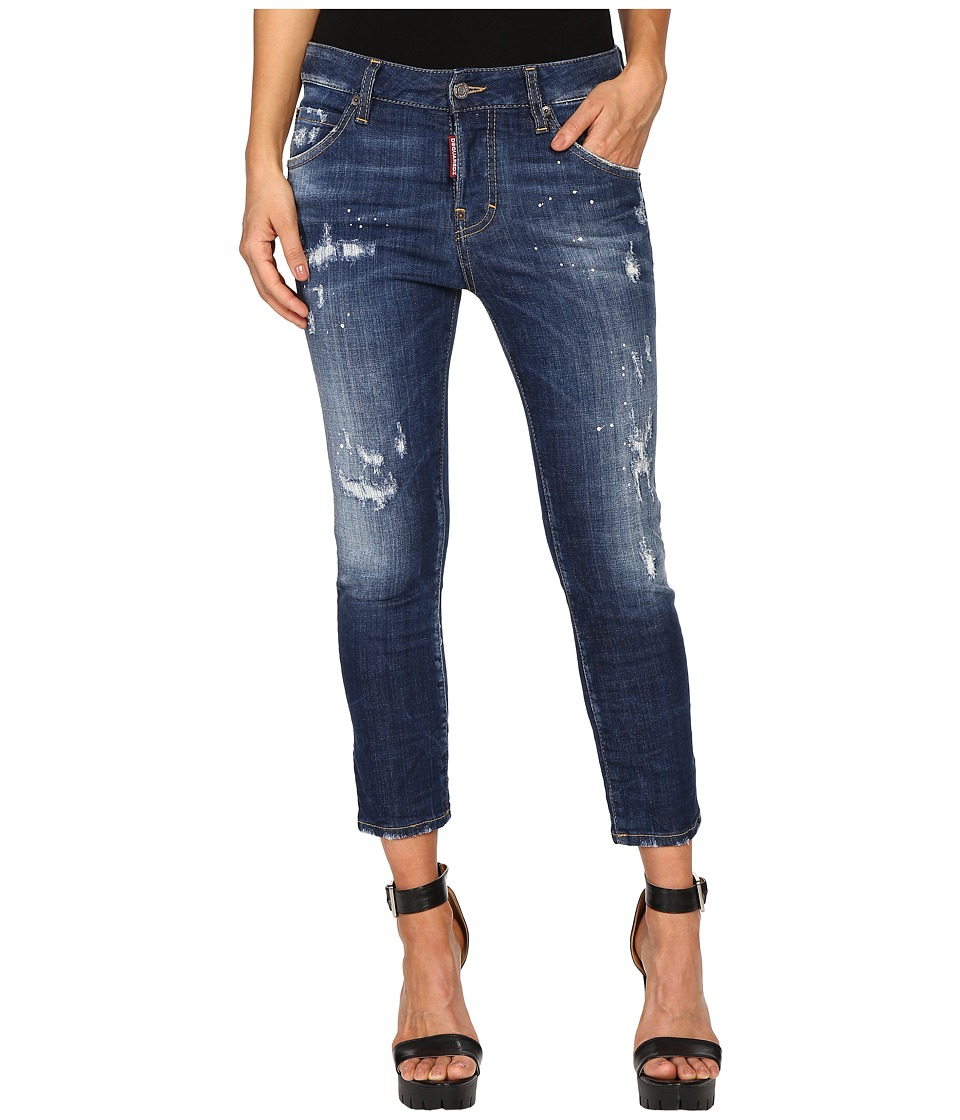 DSQUARED2 - Perfetto Wash Cool Girl Cropped Jeans in Blue (Blue) Womens Jeans