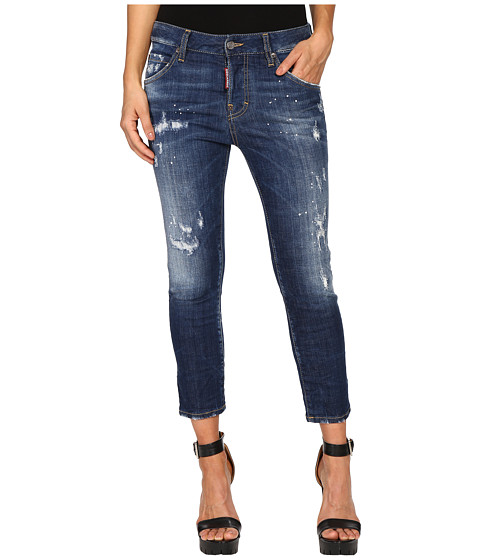 DSQUARED2 Perfetto Wash Cool Girl Cropped Jeans in Blue