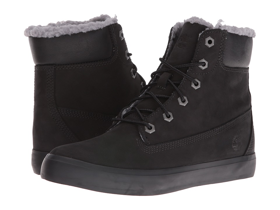 Timberland Flannery 6 Warm Boot (Black Nubuck) Girls Shoes