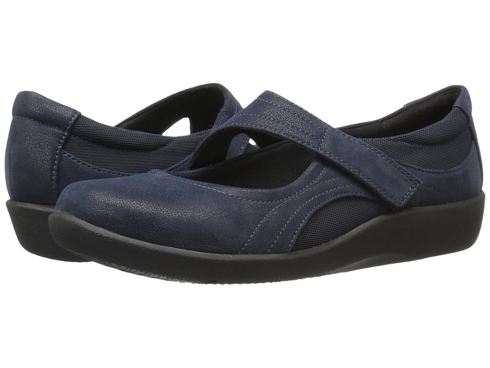 Clarks Sillian Bella (Navy Synthetic Nubuck) Women's Shoes