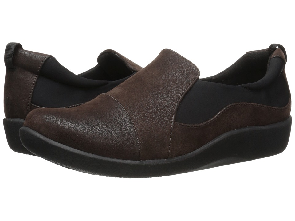 Clarks Sillian Paz (Dark Brown Synthetic Nubuck) Women's Shoes