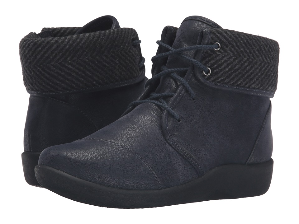 Clarks Sillian Frey (Navy Synthetic Nubuck) Women's Shoes