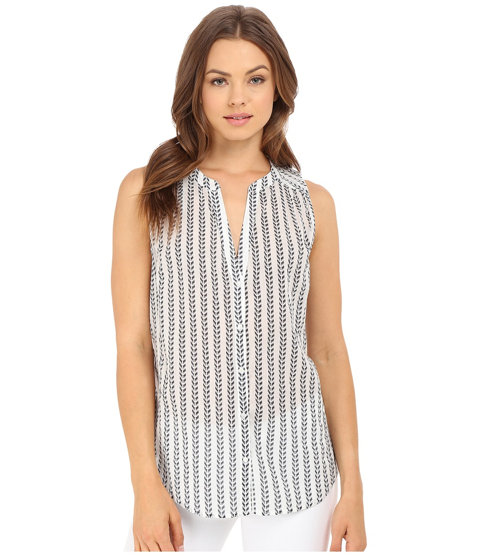 Paige Bonnie Top White/Evening Blue Womens Sleeveless