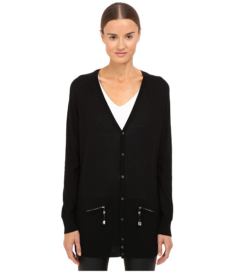 DSQUARED2 Long Sleeve Zip Pocket Cardigan - Black