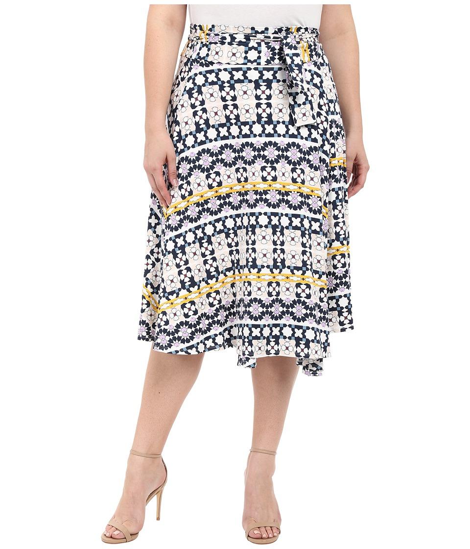 Rachel Pally Plus Plus Size Mid Length Wrap Skirt Morrocco Print Womens Skirt